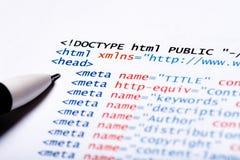 Code de HTML Photographie stock libre de droits
