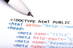 Code de HTML Images stock
