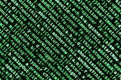 Code de Javascript dans l'éditeur de texte Concept de cyberespace de codage Écran de code se développant de Web photos stock