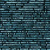 Code de Javascript dans l'éditeur de texte Concept de cyberespace de codage Écran de code se développant de Web image stock