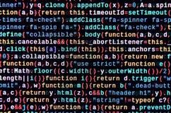 Code de Javascript dans l'éditeur de texte Concept de cyberespace de codage Écran de code se développant de Web photographie stock libre de droits
