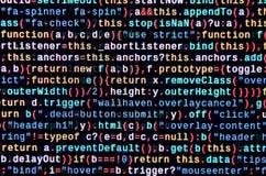Code de Javascript dans l'éditeur de texte Concept de cyberespace de codage Écran de code se développant de Web photos libres de droits