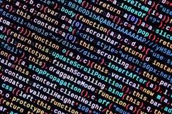Code de Javascript dans l'éditeur de texte Concept de cyberespace de codage Écran de code se développant de Web images libres de droits