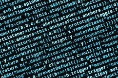 Code de Javascript dans l'éditeur de texte Concept de cyberespace de codage Écran de code se développant de Web photo libre de droits