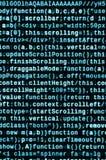 Code de Javascript dans l'éditeur de texte Concept de cyberespace de codage Écran de code se développant de Web illustration stock