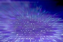 Code de Javascript Code source de programmation par ordinateur Écran abstrait brouillé par radial de développeur web Technologie  photographie stock libre de droits