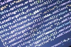 Code de Javascript Code source de programmation par ordinateur Écran abstrait de développeur web avec le code rougeoyant Photographie stock libre de droits
