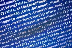 Code de Javascript Code source de programmation par ordinateur Écran abstrait de développeur web avec le code rougeoyant Photographie stock