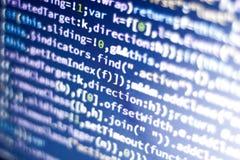 Code de Javascript Code source de programmation par ordinateur Écran abstrait de développeur web avec le code rougeoyant Images stock