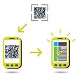 Code de la lecture QR de portable et réussite d'apparence Images libres de droits