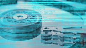 Code de programmation de disque dur d'ordinateur et de manuscrit animé comme fond de technologie banque de vidéos