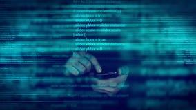 Code de programmation de manuscrit animé abstrait sur le dispositif intelligent mobile de téléphone
