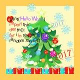 Code de programme de cartes de salutation, flocon de neige, arbre de Noël de nouvelle année o illustration libre de droits