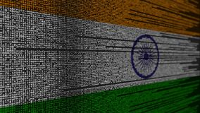 Code de programme et drapeau d'Inde Animation loopable relative indienne de technologie numérique ou de programmation illustration stock