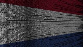 Code de programme et drapeau des Pays-Bas Animation loopable relative néerlandaise de technologie numérique ou de programmation illustration libre de droits