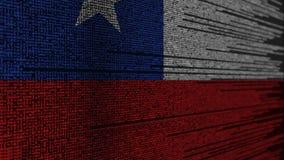 Code de programme et drapeau du Chili Animation loopable relative chilienne de technologie numérique ou de programmation illustration de vecteur