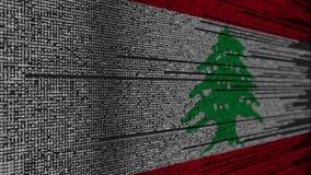 Code de programme et drapeau du Liban Animation loopable relative libanaise de technologie numérique ou de programmation illustration de vecteur