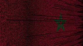 Code de programme et drapeau du Maroc Animation loopable relative marocaine de technologie numérique ou de programmation illustration libre de droits
