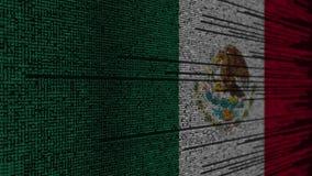 Code de programme et drapeau du Mexique Animation loopable relative mexicaine de technologie numérique ou de programmation illustration stock