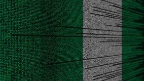 Code de programme et drapeau du Nigéria Animation loopable relative nigérienne de technologie numérique ou de programmation illustration stock