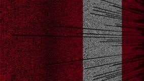 Code de programme et drapeau du Pérou Animation loopable relative péruvienne de technologie numérique ou de programmation illustration stock