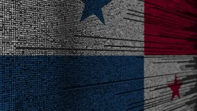 Code de programme et drapeau du Panama Animation loopable relative de technologie numérique ou de programmation de Panamian illustration stock