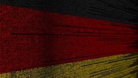 Code de programme et drapeau de l'Allemagne Animation loopable relative allemande de technologie numérique ou de programmation illustration stock