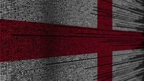 Code de programme et drapeau de l'Angleterre Animation loopable relative anglaise de technologie numérique ou de programmation illustration stock