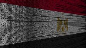 Code de programme et drapeau de l'Egypte Animation loopable relative égyptienne de technologie numérique ou de programmation illustration stock