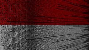 Code de programme et drapeau de l'Indonésie Animation loopable relative indonésienne de technologie numérique ou de programmation illustration de vecteur