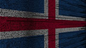 Code de programme et drapeau de l'Islande Animation loopable relative islandaise de technologie numérique ou de programmation illustration stock