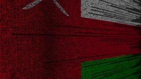 Code de programme et drapeau de l'Oman Animation loopable relative omanaise de technologie numérique ou de programmation illustration stock