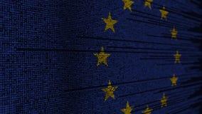Code de programme et drapeau de l'UE Animation loopable relative de technologie numérique ou de programmation d'Union européenne illustration stock