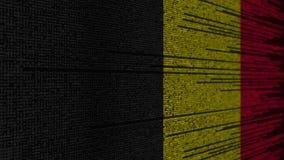Code de programme et drapeau de la Belgique Animation loopable relative belge de technologie numérique ou de programmation illustration stock