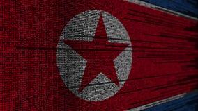 Code de programme et drapeau de la Corée du Nord Animation loopable relative de technologie numérique ou de programmation du DPRK illustration stock