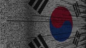 Code de programme et drapeau de la Corée du Sud Animation loopable relative coréenne de technologie numérique ou de programmation illustration stock