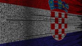 Code de programme et drapeau de la Croatie Animation loopable relative croate de technologie numérique ou de programmation illustration libre de droits