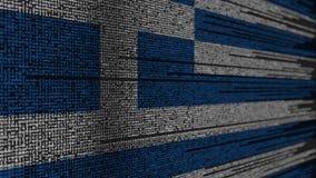 Code de programme et drapeau de la Grèce Animation loopable relative grecque de technologie numérique ou de programmation illustration stock