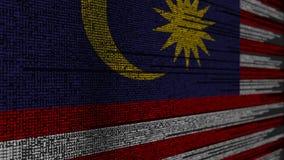 Code de programme et drapeau de la Malaisie Animation loopable relative malaisienne de technologie numérique ou de programmation illustration de vecteur