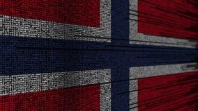Code de programme et drapeau de la Norvège Animation loopable relative norvégienne de technologie numérique ou de programmation illustration de vecteur