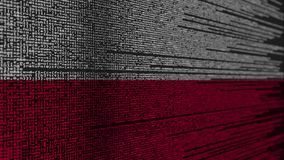 Code de programme et drapeau de la Pologne Animation loopable relative polonaise de technologie numérique ou de programmation illustration de vecteur