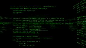 Code de programme informatique fonctionnant dans un espace virtuel L'appareil-photo tourne 360 degrés Version verte/noir illustration libre de droits