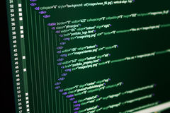Code de Web de HTML Photographie stock