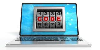 Code de Word sur un écran du ` s d'ordinateur portable illustration 3D Photo stock