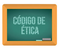 Code of ethics blackboard in Spanish Stock Photo