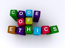 Code of ethics. Text 'code of ethics' spelled out in white uppercase letters inscribed on small colorful cubes in three lines, white background Royalty Free Stock Photo