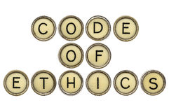 Code of ethics in typewriter keys Stock Photo