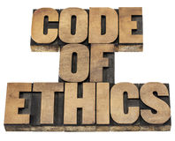 Code of ethics in wood type Stock Images