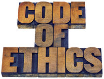 Code of ethics word abstract in wood type Royalty Free Stock Photography