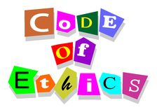 Code of ethics. Words in collage cutouts isolated on white Royalty Free Stock Image